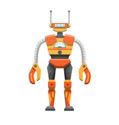 Metal humanoid robot with antennae vector