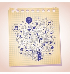 Music box note paper cartoon sketch vector