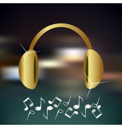 music gold and shiny headphones icon and vector image