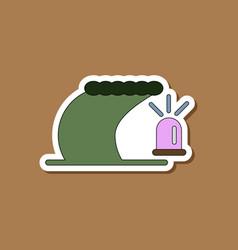 Paper sticker on stylish background tsunami alarm vector