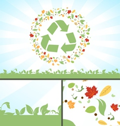 Recycle symbol green leaves vector
