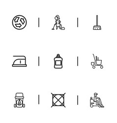 Set of 9 editable cleanup icons includes symbols vector