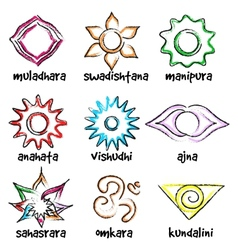 set of chakras symbols vector image