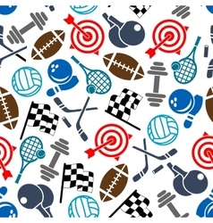 Sport items color seamless pattern vector