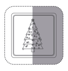 Sticker of silhouette frame of christmas tree with vector