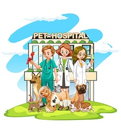 Three vets and many pets at the hospital vector image