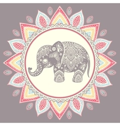 Vintage Indian elephant with tribal ornaments vector image vector image