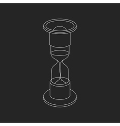 white hourglass icon on black background vector image