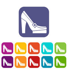Women shoes on platform icons set vector