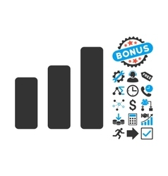 Bar chart increase flat icon with bonus vector