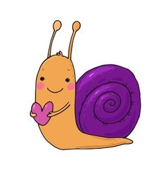 Cute cartoon snail with heart vector
