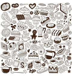 coffee and sweets - doodles vector image