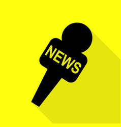 Tv news microphone sign  black icon vector