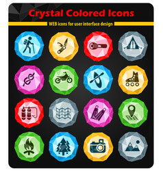 Active recreation icon set vector