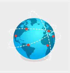 Earth and online shops net isolated vector