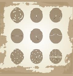 Fingerprint collection on grunge vintage backdrop vector
