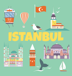 tourist card with a set of istanbul landmarks vector image