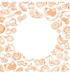 handdrawn doodle fruits and vegetables set vector image