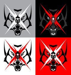 Tribal wolf emblem tattoo for big motorcycle biker vector