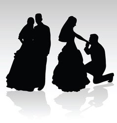 Wedding couple silhouette vector