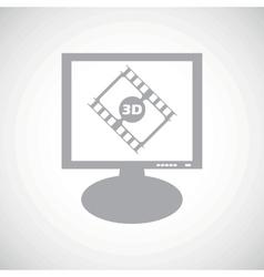 3d movie grey monitor icon vector