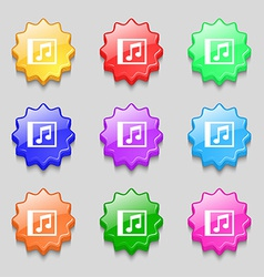 Audio mp3 file icon sign symbol on nine wavy vector