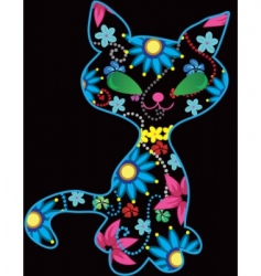 Ornate kitten illustration vector