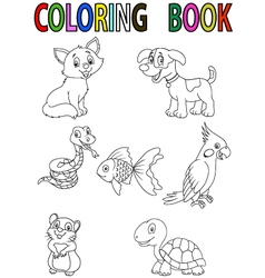 Cartoon pet coloring book vector