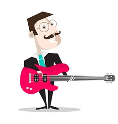 Bass guitar player isolated on white - retro flat vector