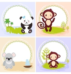Monkey panda koala bears set of cards design vector