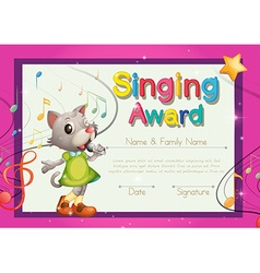Singing award template with kitten singer vector