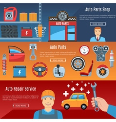 Auto Service Flat Horizontal Banners Set vector image vector image