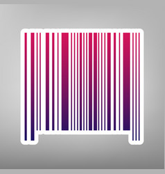 bar code sign purple gradient icon on vector image vector image