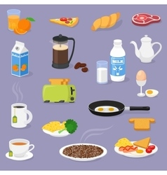 Breakfast time with food and drinks vector image vector image