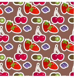 cartoon fresh cherry fruits in flat style seamless vector image vector image