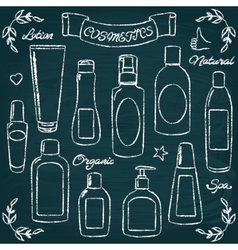 Chalkboard cosmetic bottles set 1 vector