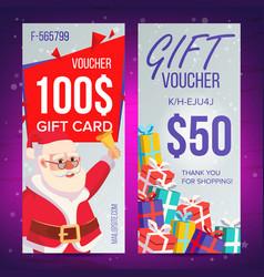 christmas voucher vertical banner merry vector image vector image