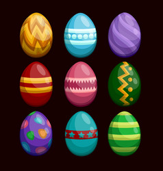 colorful easter eggs set isolated on dark vector image