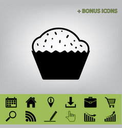 Cupcake sign black icon at gray vector