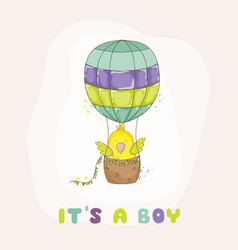 cute parrot flying in air balloon baby shower vector image vector image