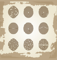 Fingerprint collection on grunge vintage backdrop vector