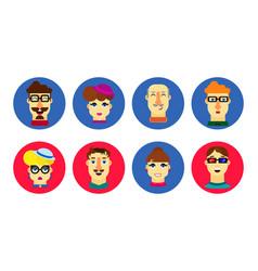 Flat human faces cartoon male and female avatar vector