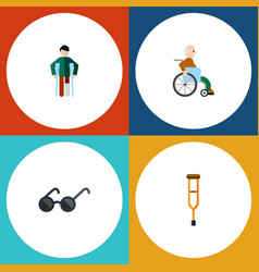 Flat icon cripple set of handicapped man stand vector