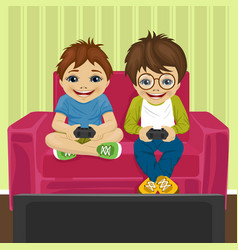 friends playing video game at home sitting on sofa vector image