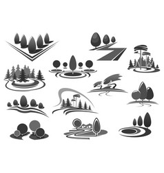 Gardening or green landscape design icons vector