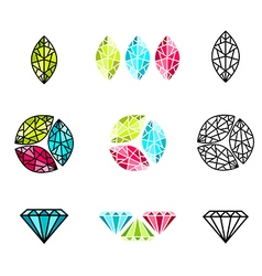 gemstone Logo Design set vector image vector image