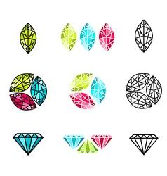 gemstone Logo Design set vector image