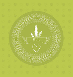 Green rustic card heart ribbon decorative paper vector