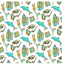 Hand drawn surfing and diving seamless pattern vector