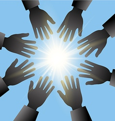 hands reaching in the sun with blue sky vector image vector image